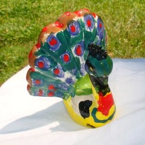 Accents - Peacock Figurine Colorful Vintage Art Ceramic Gift